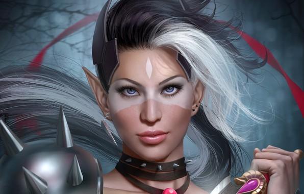 Картинка взгляд, девушка, лицо, эльф, нож, эльфийка, уши, adalia