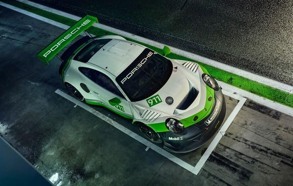 Картинка 911, Porsche, гоночное авто, вид сверху, GT3 R, 2019