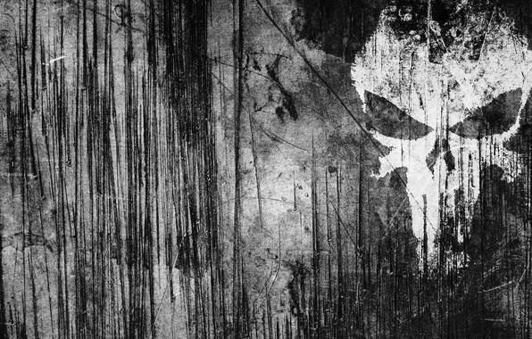 Картинка полосы, череп, царапины, Punisher, Каратель