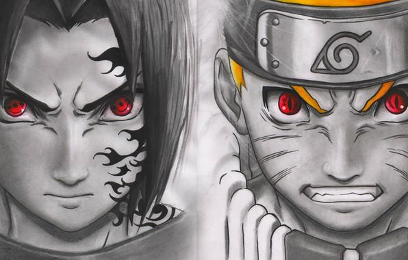 Картинка Naruto, seal, anime, sharingan, ninja, Uchiha Sasuke, shinobi, kyuubi, japanese, Uzumaki Naruto, jinchuuriki, doujutsu, hitaiate, …