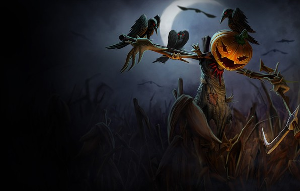 Картинка axe, dark, Halloween, moon, night, holiday, pumpkin, scary, scarecrow, spooky, crows, crescent