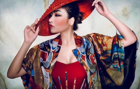 Картинка поза, стиль, модель, шляпа, руки, макияж, азиатка