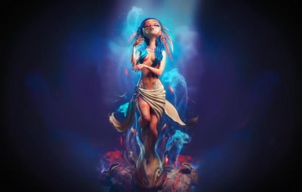 Картинка девушка, духи, зайцы, Carlos Ortega, The Weeping Woman, плачущая девушка
