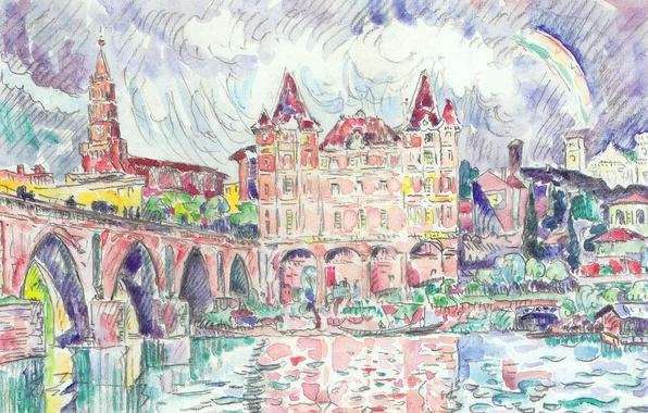 Картинка мост, река, рисунок, дома, акварель, городской пейзаж, Поль Синьяк, Вид на Монтобан под Дождем