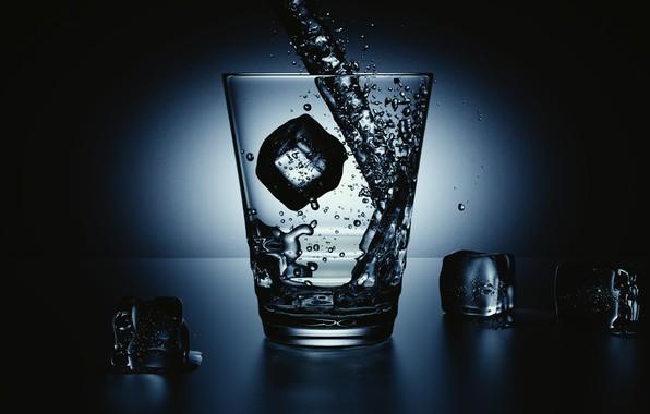 Картинка вода, стакан, лёд, струя, Water ad