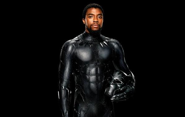 Картинка фантастика, черный, маска, костюм, черный фон, постер, комикс, MARVEL, T'Challa, Black Panther, Chadwick Boseman, Чедвик ...