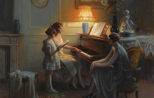 Фото обои цветы, лампа, масло, вечер, фортепиано, Академизм, Дельфин Анжольра, Урок пения