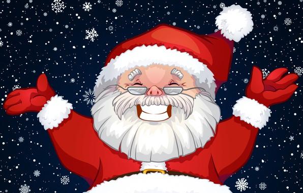 Картинка Снег, Улыбка, Лицо, Рождество, Костюм, Снежинки, Фон, Новый год, Санта, Борода, Праздник, Санта Клаус, Клаус, …