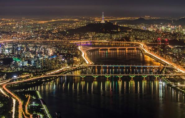 Картинка ночь, город, огни, панорама, Сеул, Seoul