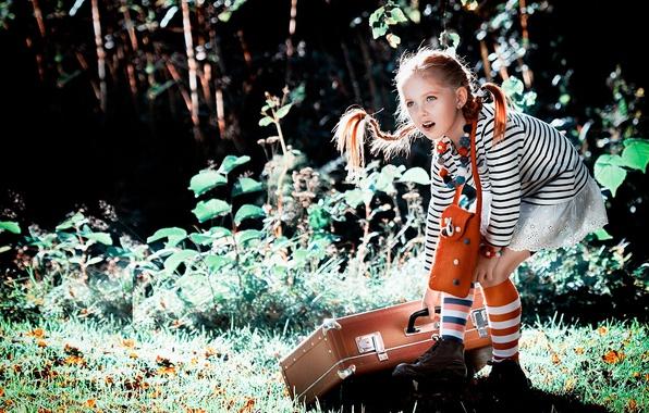 Картинка лето, природа, девочка, косички, чемодан, гольфы, Пеппи, Длинныйчулок