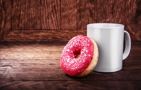 Картинка пончик, pink, cup, глазурь, coffee, donut, чашка кофе