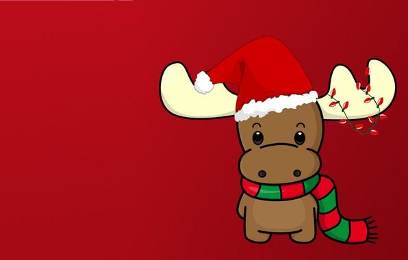 Картинка зима, праздник, новый год, минимализм, вектор, олень, арт, гирлянда, шарфик, шапочка, детская
