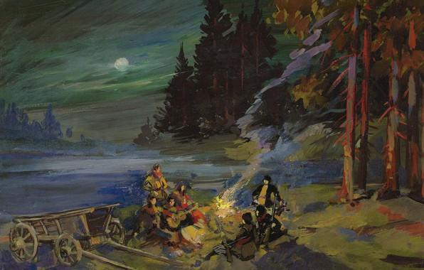 Картинка лес, пейзаж, ночь, картина, Костер, привал, Константин Коровин
