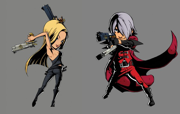 Картинка пистолеты, пародия, Dante, наемники, Devil May Cry, чибики, Дьявол может плакать, Trish