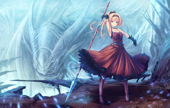 Картинка девушка, оружие, монстр, платье, перчатки, копье, anime, art