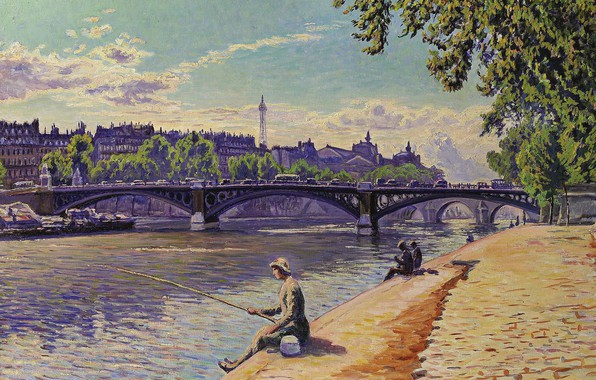 Картинка мост, река, картина, городской пейзаж, Gustave Cariot, Гюстав Карио, Рыбачка