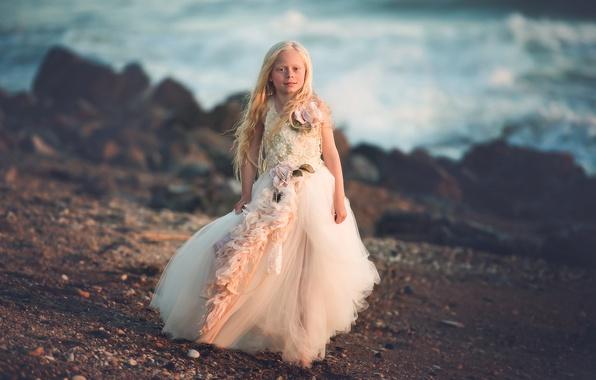 Картинка берег, платье, девочка, Sea Princess