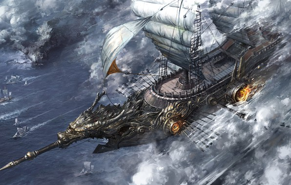 Картинка огонь, корабль, паруса, solo, вёсла