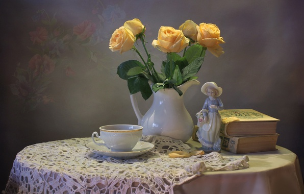 Картинка чай, книги, розы, букет, чашка, статуэтка, натюрморт
