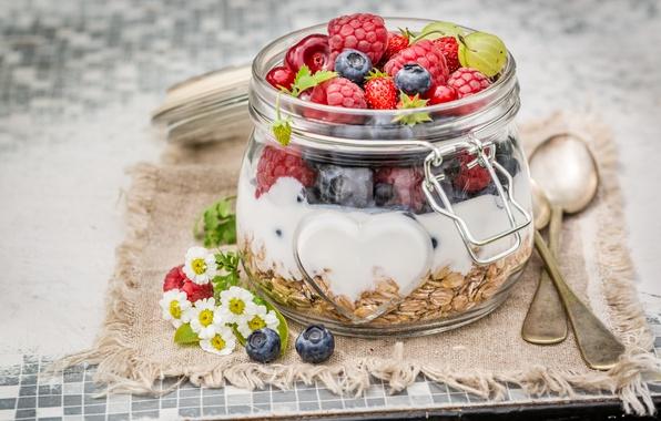 Картинка цветы, вишня, ягоды, малина, еда, ромашки, завтрак, черника, йогурт, овсянка