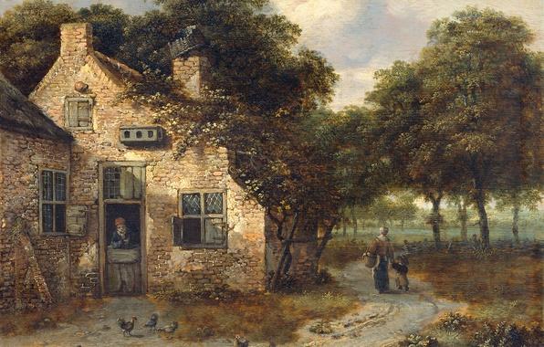 Картинка пейзаж, дерево, масло, картина, Крестьянский Дом, Ян Вейнантс
