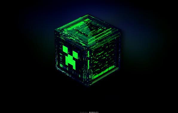 Фото обои взрыв, синий, зеленый, серый, черный, игра, куб, game, minecraft, изумрудный, майнкрафт, крипер, изломы