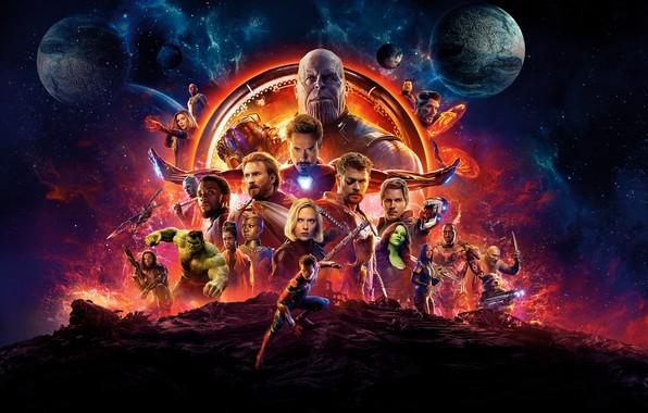 Картинка Scarlett Johansson, Infinity, Vision, Hulk, Nebula, Iron Man, War, Falcon, 2018, Captain America, Vin Diesel, …