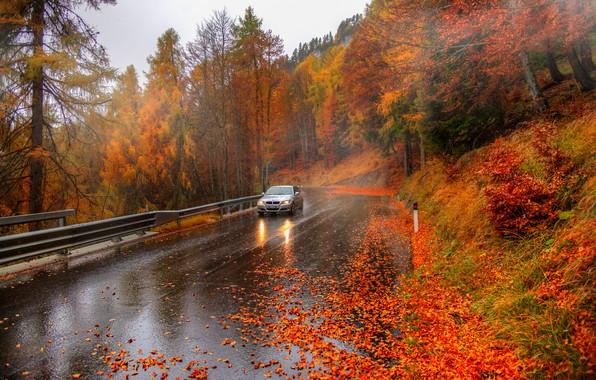 Картинка авто, осень, италия, альпы