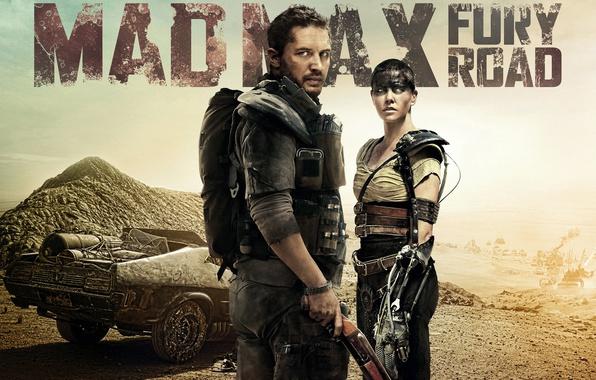 Картинка фантастика, Charlize Theron, пустыня, боевик, постер, Шарлиз Терон, Том Харди, Tom Hardy, Mad Max: Fury …