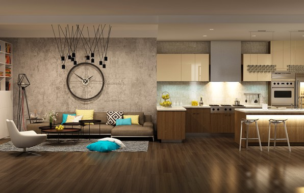 Картинка дизайн, диван, мебель, часы, интерьер, кресло, кухня, камин, design, гостиная, interior, модерн, clock, Sofa, kitchen