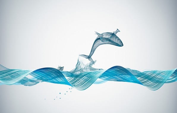 Картинка Creative, Underwater, Illustration, Graphics, Whale, Sound Waves