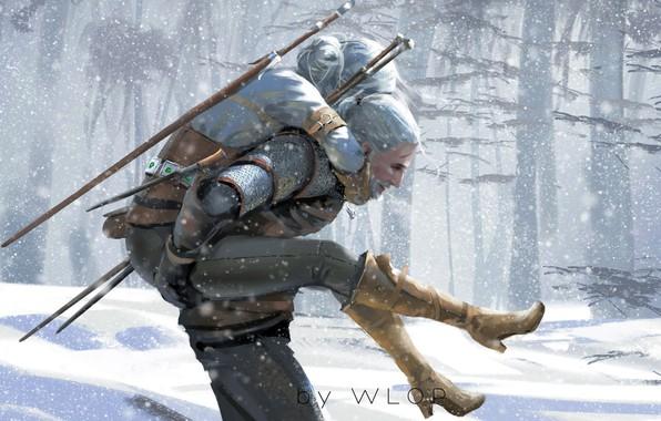 Картинка Зима, Рисунок, Игра, Снег, Меч, Арт, Art, Winter, Ведьмак, Snow, Геральт, Game, Witcher, Sword, The ...