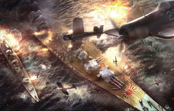 Картинка корабли, бой, сражение, самолёты, Battle of Okinawa