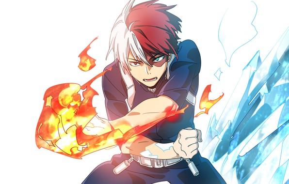 Фото обои Тодороки Шото, Boku no Hero Academia, Моя геройская академия, арт, парень