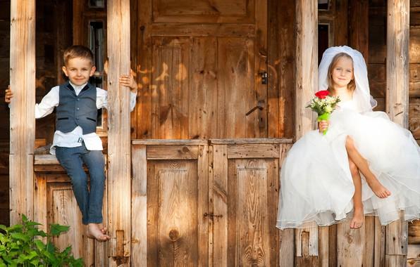 Картинка дети, улыбка, букет, мальчик, платье, девочка, невеста