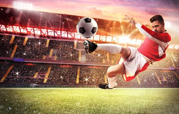 Картинка поле, трава, свет, газон, прыжок, футбол, мяч, спортсмен, футболист, униформа, трибуны, стадион, прожектора, удар ногой
