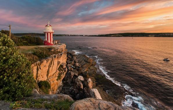 Картинка море, закат, камни, скалы, побережье, маяк, дома, вечер, Австралия, Port Stephen