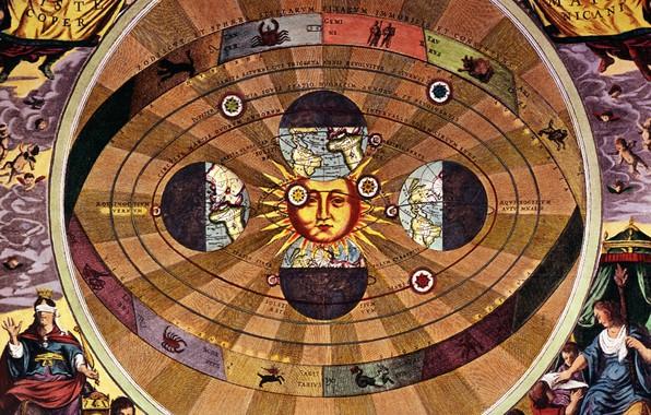 Картинка солнце, земля, знаки зодиака, Николай Коперник, Научная революция