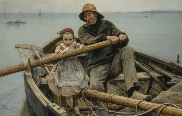 Картинка 1881, французский живописец, French painter, The helping hand, Рука помощи, Emile Renouf, Эмиль Ренуф