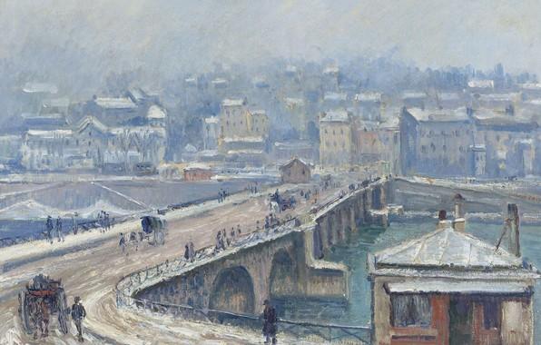 Картинка зима, картина, городской пейзаж, Georges Henri Manzana Pissarro, Жорж-Анри Манзана-Писсарро, Мост в Сен-Клу под Снегом