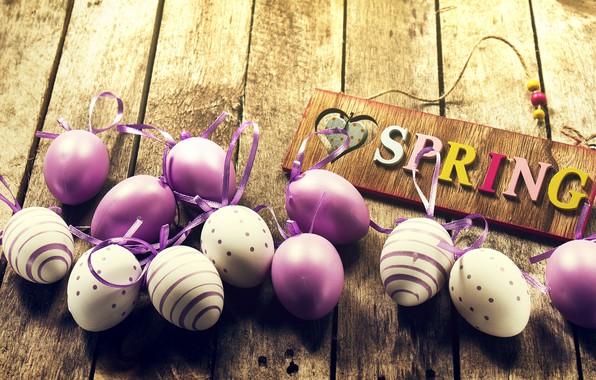 Картинка яйца, весна, Пасха, wood, spring, Easter, purple, eggs, decoration, Happy