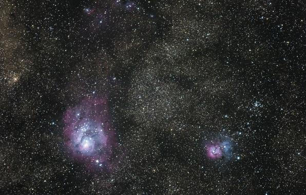 Фото обои космос, Lagoon, Trifid, туманности