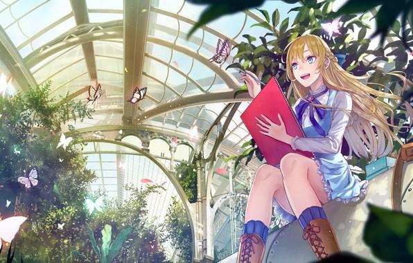 Картинка девушка, бабочки, аниме, kirinosuke