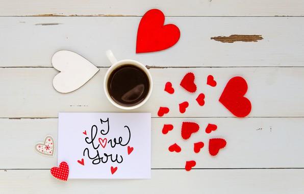 Картинка любовь, сердце, кофе, чашка, сердечки, red, love, I love you, heart, wood, romantic, coffee cup