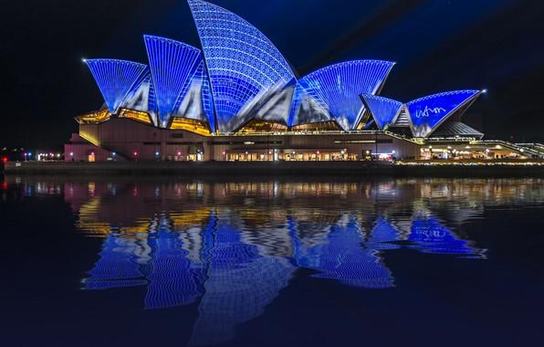 Картинка ночные огни, сидней, ночной город, австралия