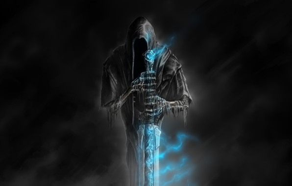 Картинка смерть, тьма, кости, ужас, art, синее пламя, магический артефакт, Nazgul, Welcome to Hell, саван