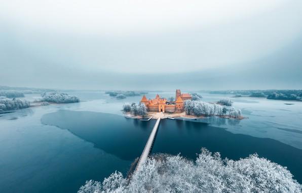 Картинка Winter, Castle, Trakai, Lithuania