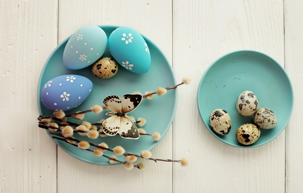 Картинка Пасха, яйца крашенные, wood, верба, spring, Easter, eggs, decoration, Happy