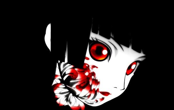 Картинка пустота, тьма, красные глаза, черные волосы, art, кровавая, хризантема, Enma Ai, Jigoku Shoujo, Hell girl, …