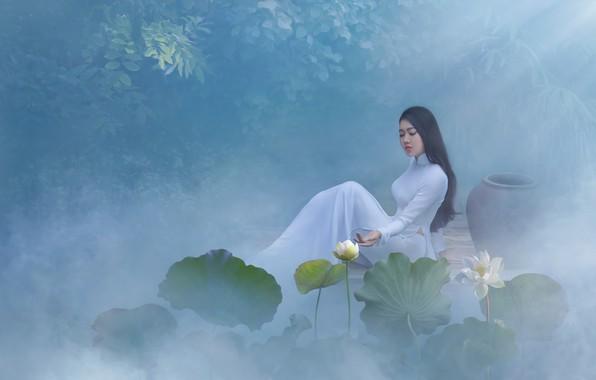 Картинка листья, девушка, свет, цветы, поза, туман, пруд, стиль, белое, берег, модель, волосы, сад, платье, брюнетка, ...